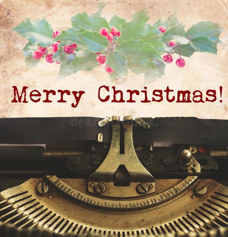 Merry Christmas typewriter. Merry Christmas words on typewriter with copy space stock image