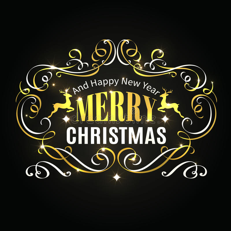 Merry Christmas typographic label. royalty free illustration