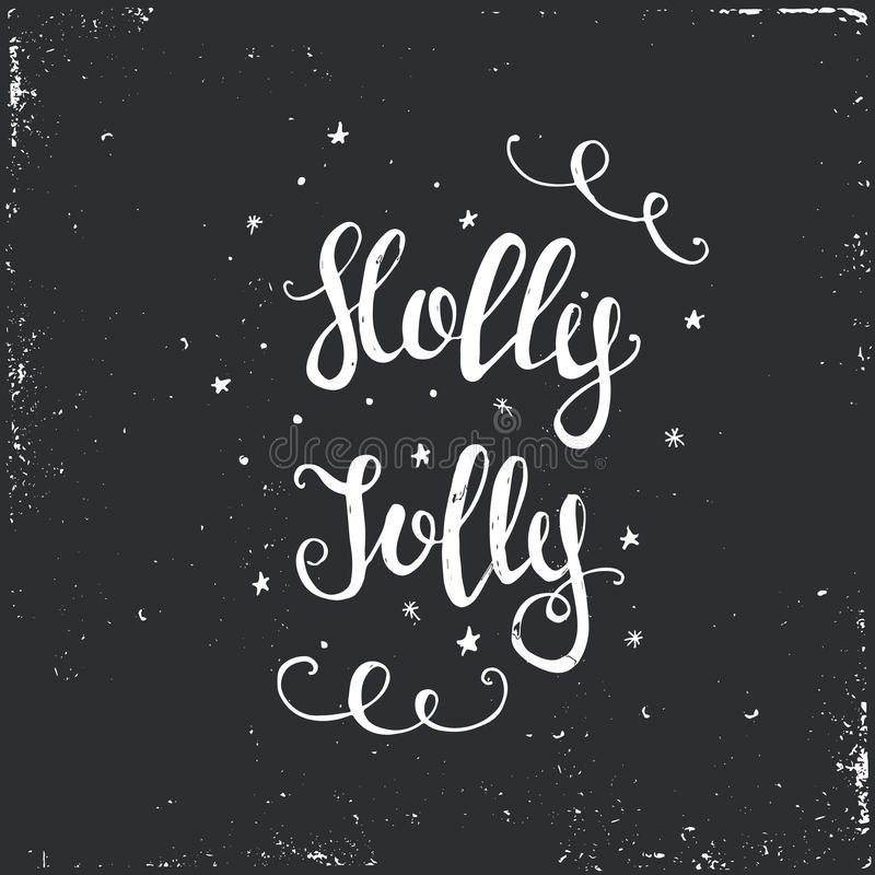 Merry Christmas Typographical Background. Holly Jolly. Vector illustration stock illustration