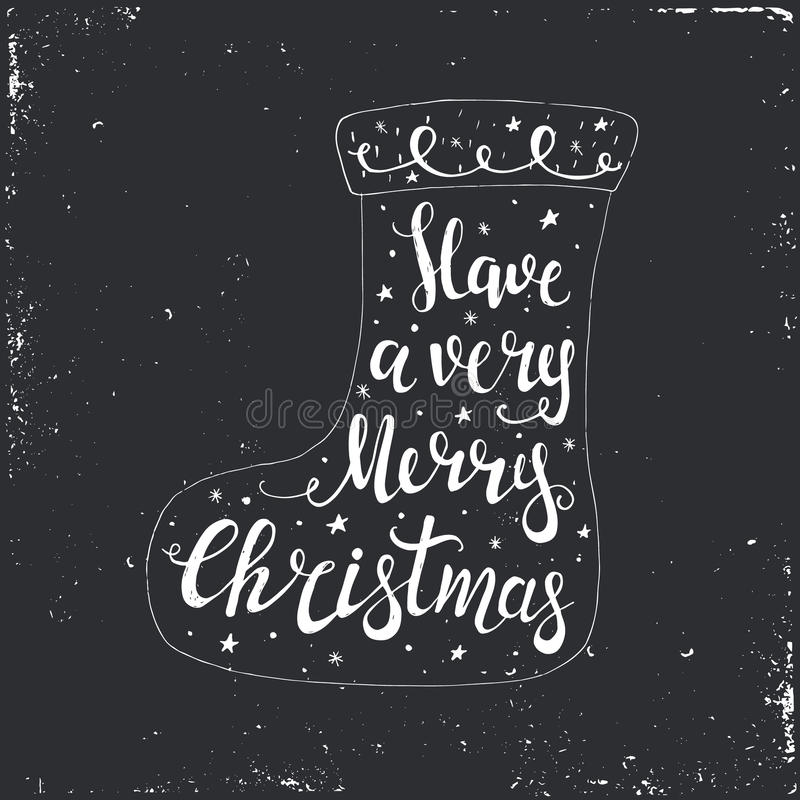Merry Christmas Typographical Background. With Christmas socks. Vector illustration royalty free illustration