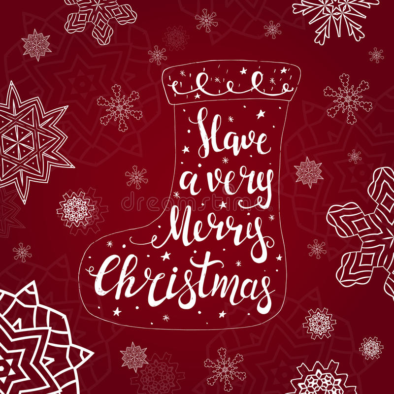 Merry Christmas Typographical Background. With Christmas socks. Vector illustration vector illustration
