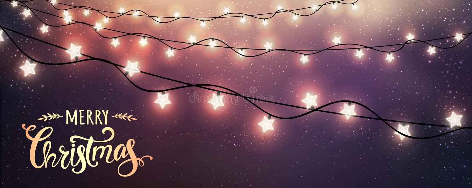 Merry Christmas Typographical on dark background with Xmas decorations glowing white garlands, light, stars. Christmas theme. Vector Illustration royalty free illustration