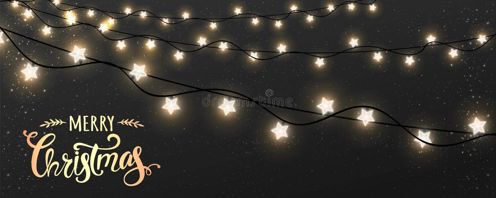 Merry Christmas Typographical on dark background with Xmas decorations glowing white garlands, light, stars. Christmas theme. Vector Illustration stock illustration