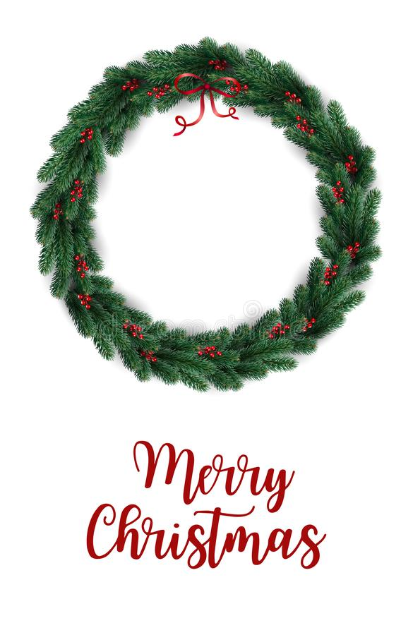 Free Merry Christmas Typographical On White Background With Christmas Wreath Of Tree Branches, Berries. Xmas Theme. Vector Illustration Royalty Free Stock Photos - 134592148