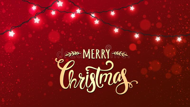 Merry Christmas Typographical on red background with Xmas decorations glowing white garlands, light, stars. vector illustration