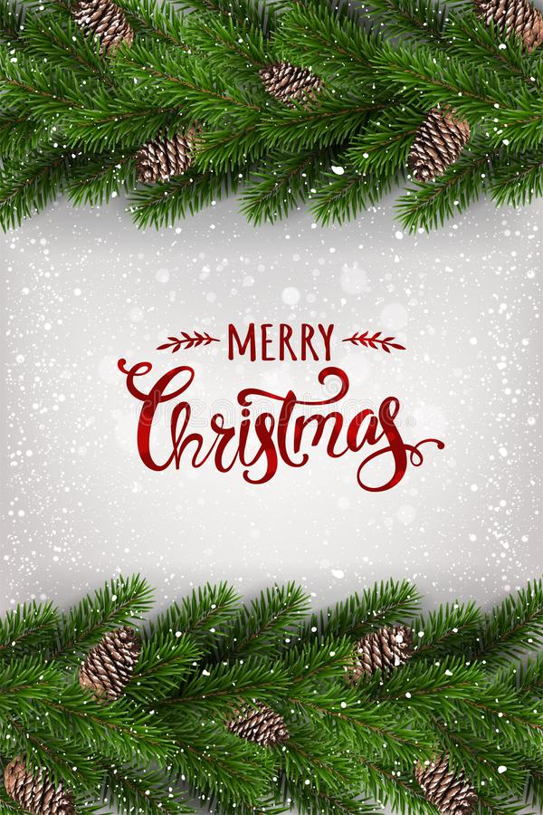 Merry Christmas Typographical on white background with garland of tree branches decorated with stars, lights, snowflakes. Xmas and New Year theme. Vector vector illustration
