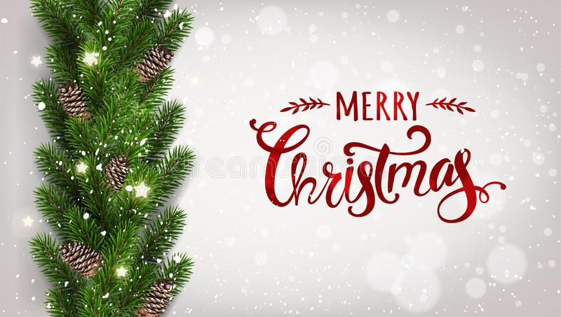 Merry Christmas Typographical on white background with garland of tree branches decorated with stars, lights, snowflakes. Xmas and New Year theme. Vector stock illustration