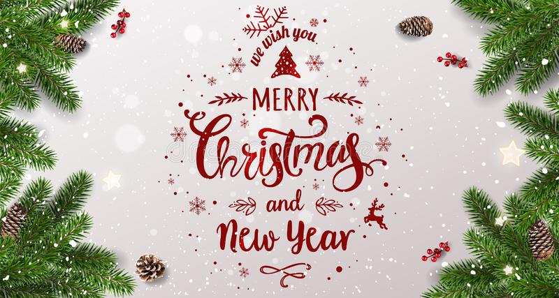 Merry Christmas Typographical on white background with tree branches, berries, gift boxes, stars, pine cones. Xmas and New Year royalty free illustration