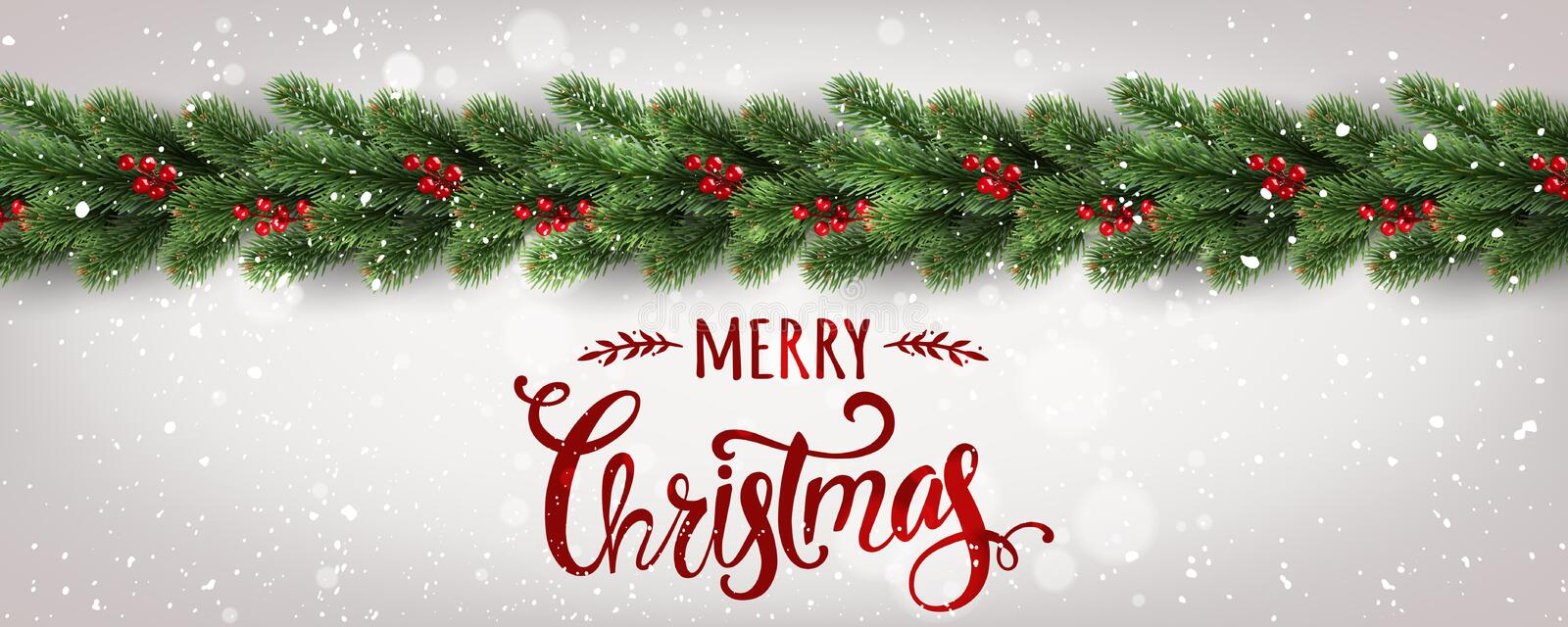 Merry Christmas Typographical on white background with tree branches decorated with berries, lights, snowflakes. vector illustration