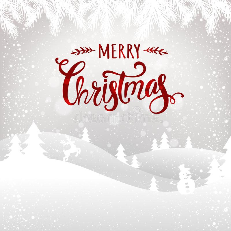 Merry Christmas typographical on white background with winter landscape, snowflakes, light, stars. Xmas card. Vector Illustration royalty free illustration