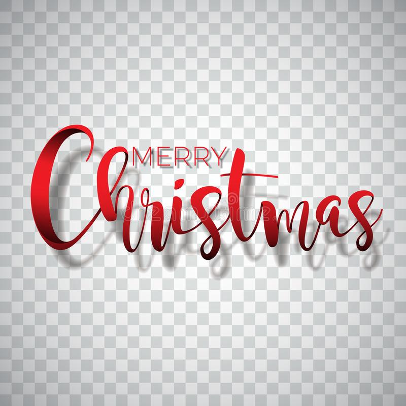 Merry Christmas Typography illustration on a transparent background. Vector logo, emblems, text design for greeting. Cards, banner, gifts, poster royalty free illustration