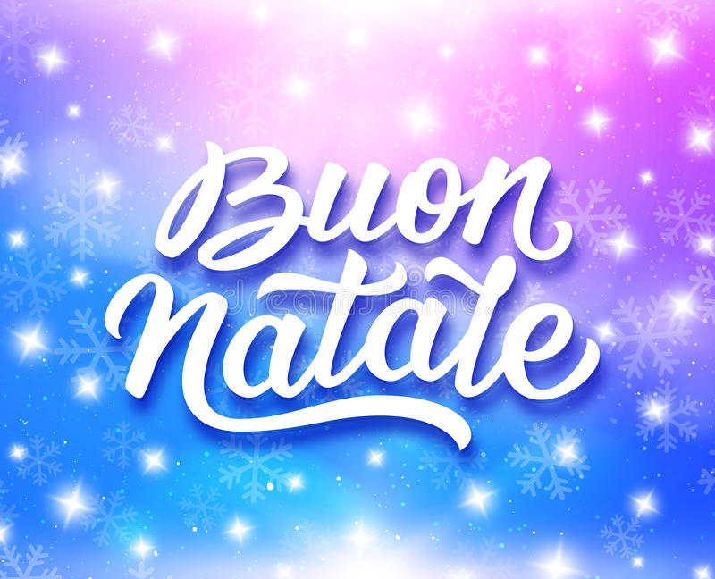 Merry Christmas typography in italian. Merry Christmas calligraphic text in italian on greeting card with magic light, stars and snowflakes on colorful stock illustration