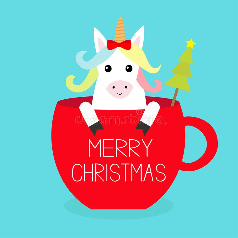 Merry Christmas. Unicorn horse sitting in red coffee cup teacup. Fir tree. Red bow. Happy New Year. Face and hands. Cute cartoon stock illustration
