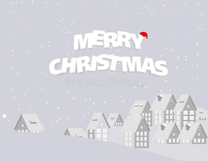 Merry Christmas. Urban landscape city village and snow in winter. Season. Concept holiday Christmas Festival vector illustration. Paper art style royalty free illustration