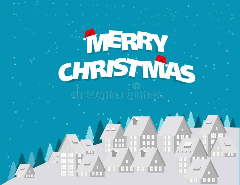 Merry Christmas. Urban landscape city village and snow in winter. Season. Concept holiday Christmas Festival vector illustration. Paper art style stock illustration