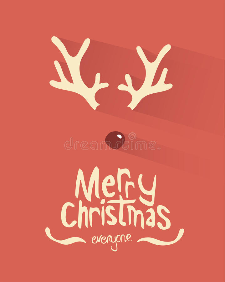 Merry christmas vector with antlers and red nose. Digitally generated Merry christmas vector with antlers and red nose royalty free illustration