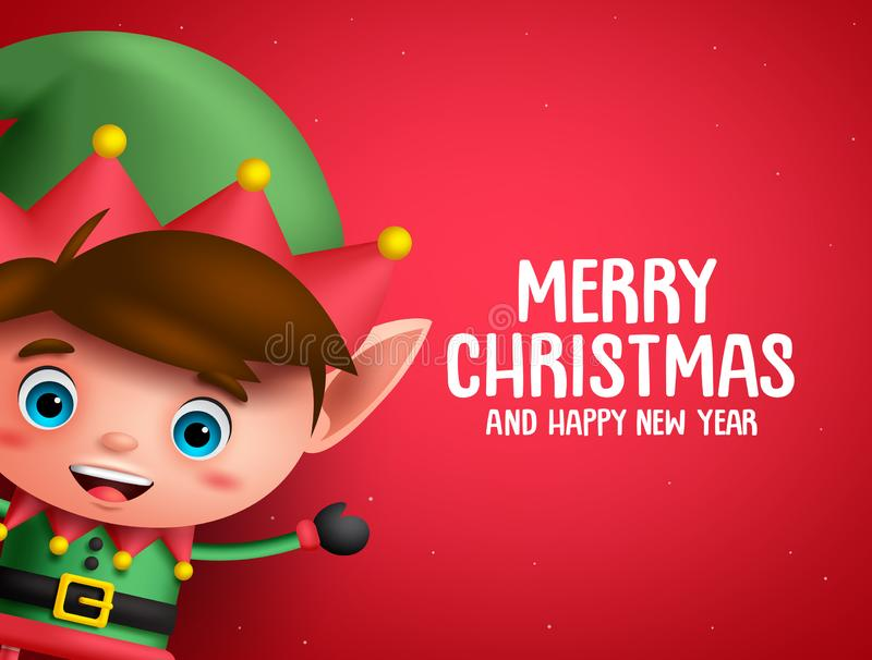 Merry christmas vector background template with boy elf character royalty free illustration