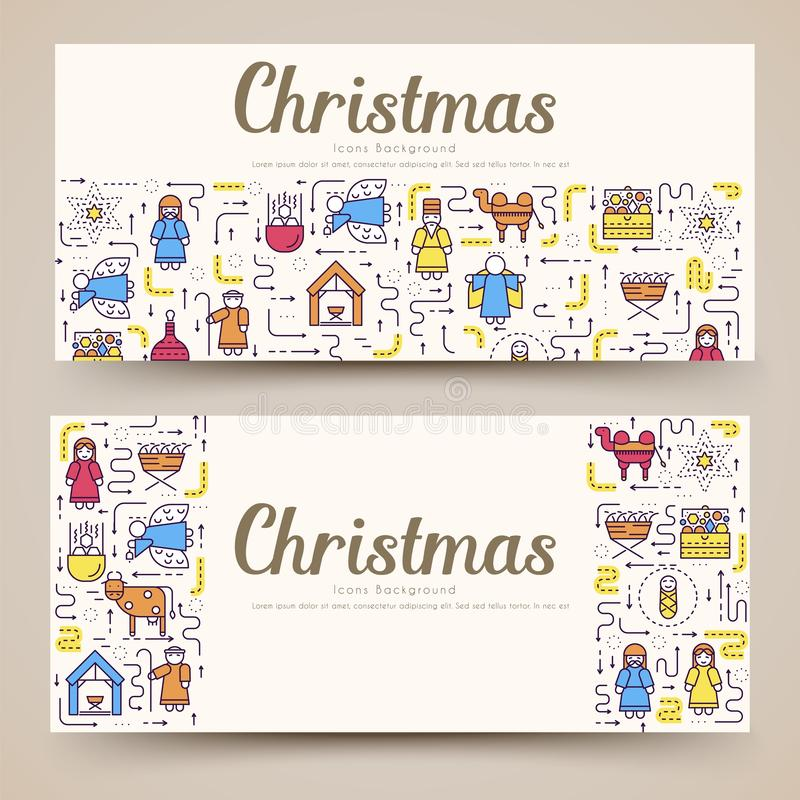 Merry Christmas vector brochure cards set. birth of Christ template of flyear, magazines, posters, book cover, banners royalty free illustration