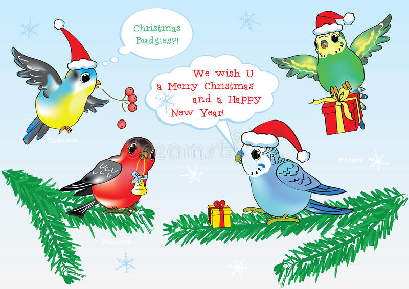 Merry Christmas From Vector Cartoon Style Birds! Stock ...