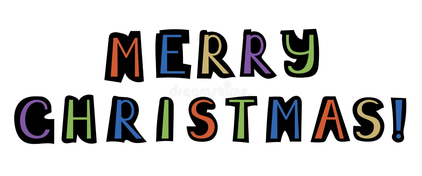 Merry Christmas. Vector colored lettering. Cut off newspaper let vector illustration