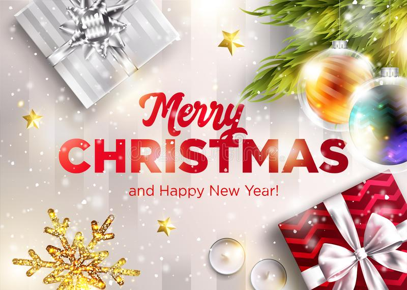 Merry Christmas Vector Greeting Card. Happy New Year 2019. royalty free illustration