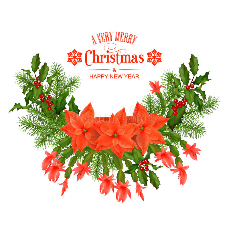 Merry Christmas Vector Greeting Card. Holiday Composition of the Christmas decorations and text on white background royalty free illustration