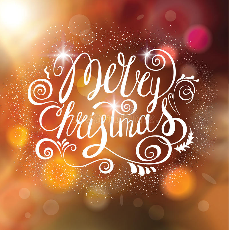 Merry Christmas Vector Greeting Card with Lettering. stock illustration