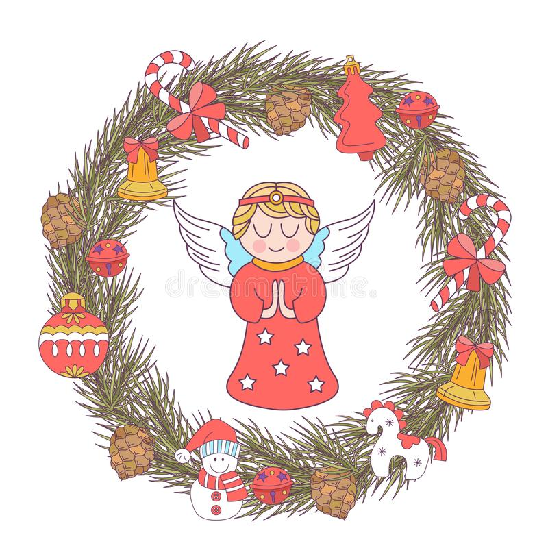 Merry Christmas. Vector greeting card. Wreath of Christmas trees vector illustration