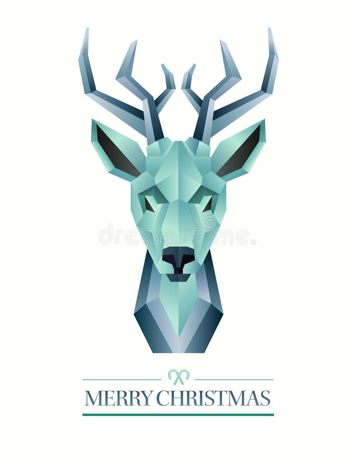 Merry christmas vector with hipster reindeer design royalty free stock photos