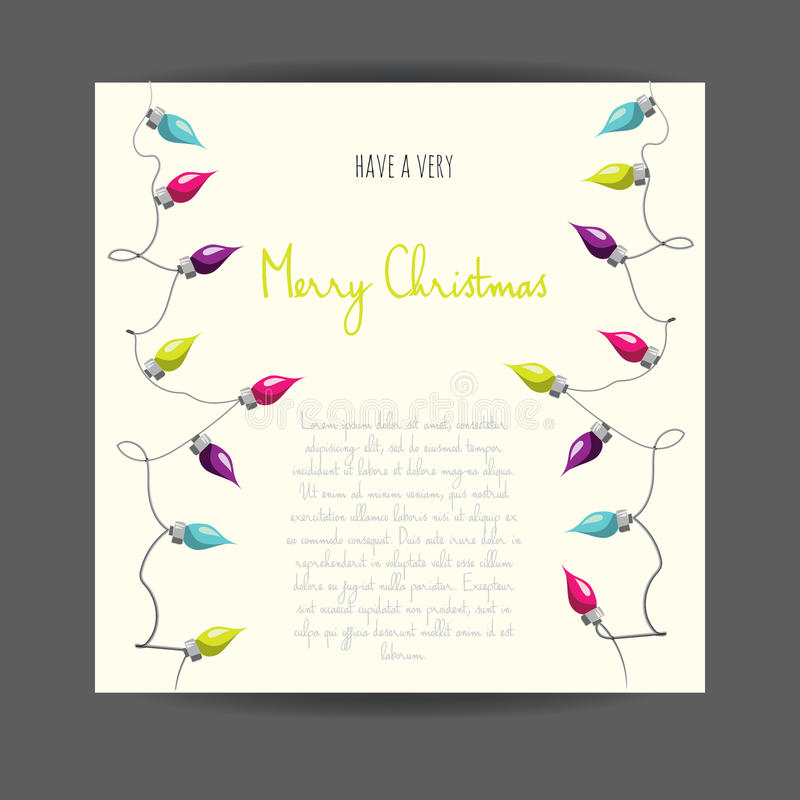 Merry Christmas! Vector illustrated greetingcard with electric lamp garland. Colorful holiday party poster design. Decorative invitation template. Multicolor stock illustration