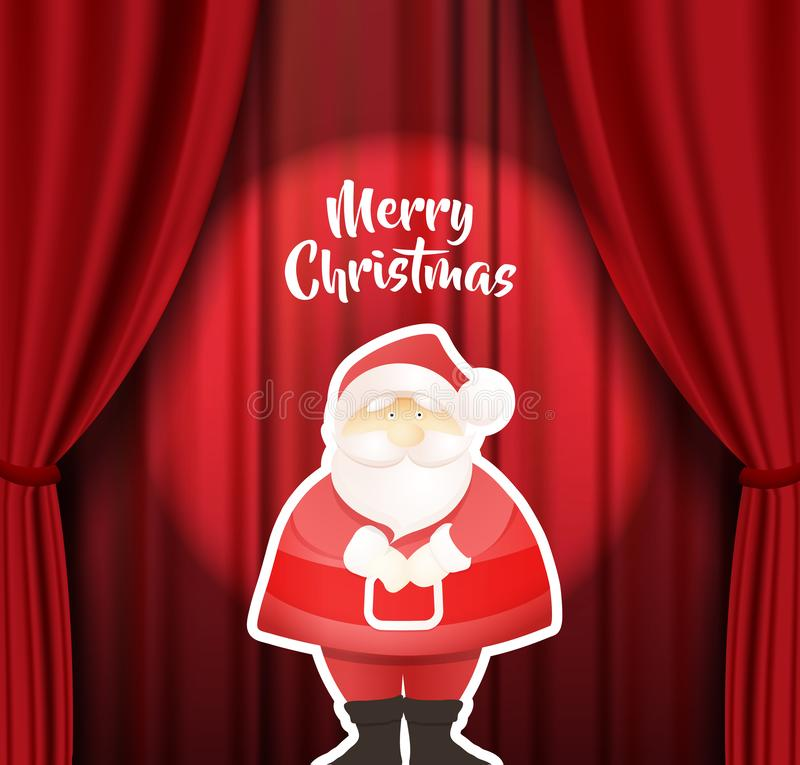 Merry Christmas vector illustration with standing Santa Claus on stage and red curtain background behind him vector illustration