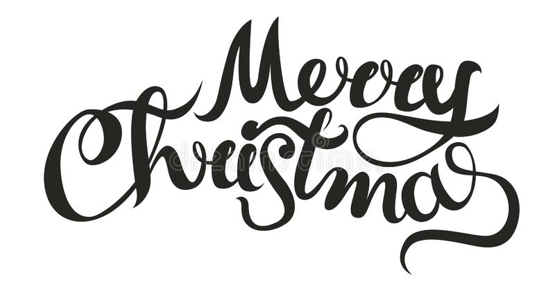 Merry Christmas vector text Calligraphic Lettering design card template. Creative typography for Holiday Greeting Gift royalty free illustration