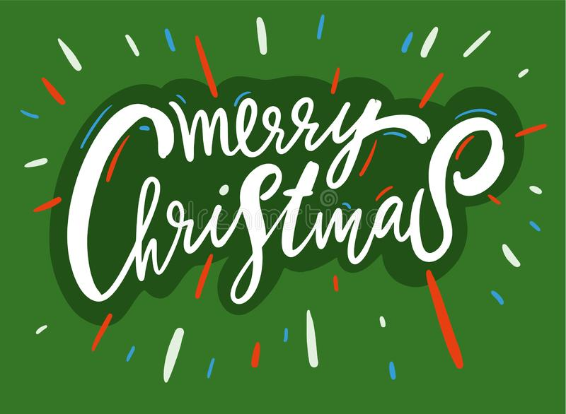 Merry Christmas vector text. Calligraphic lettering. Modern brush calligraphy. Design template for holiday greeting gift poster, banner, web vector illustration