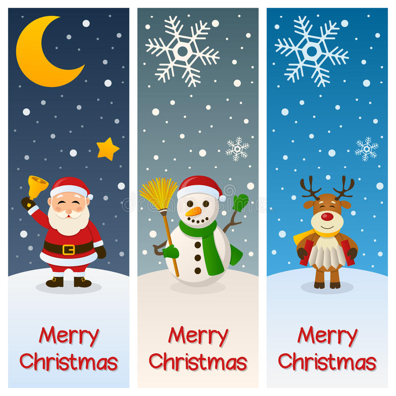 Merry Christmas Vertical Banners. A collection of three vertical banners wishing a merry Christmas, with Santa Claus holding a jingle bell, a snowman with a royalty free illustration