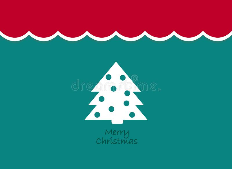 Merry Christmas Vintage background with tree. Retro flat design. stock illustration
