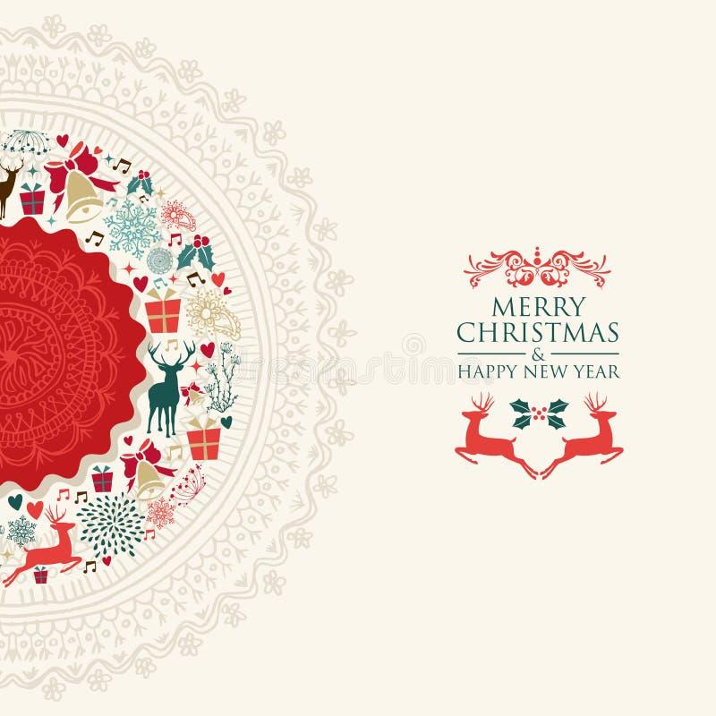 Easy Year To Travel On Christmas: Merry Christmas Vintage Circle Postcard Stock Vector