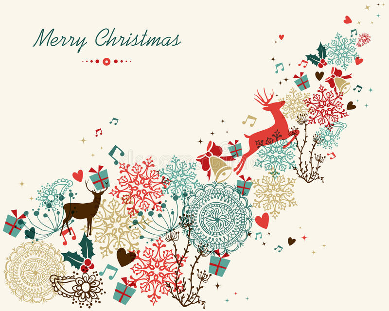 Merry Christmas vintage colors transparency royalty free illustration