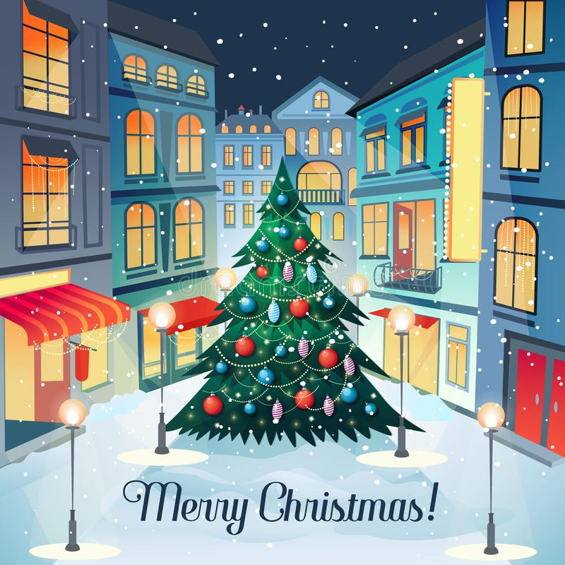 Merry Christmas Vintage Greeting Card with Christmas Tree and Cityscape. Happy New Year Postcard. Winter Holidays vector illustration