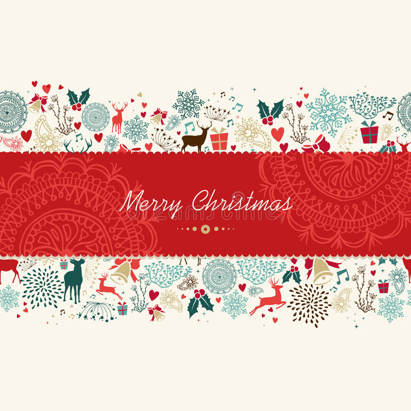 Download Merry Christmas Vintage Pattern Greeting Card Stock Vector