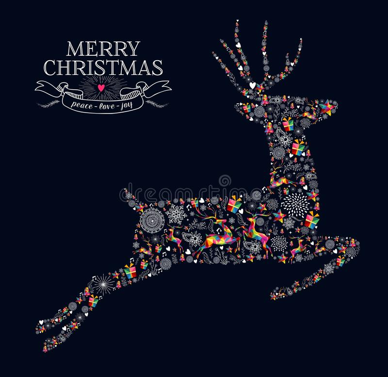 Merry Christmas vintage reindeer greeting card vector illustration