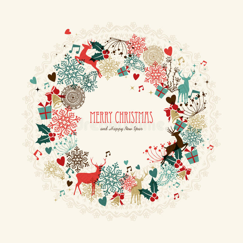 Merry Christmas vintage wreath card royalty free illustration