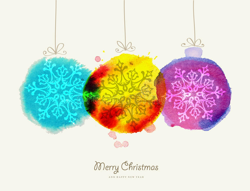 Merry Christmas watercolor baubles card. Merry Christmas greeting card handmade baubles watercolor texture illustration. EPS10 vector file organized in layers