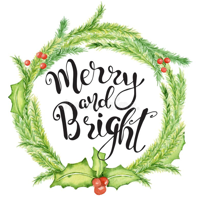 Merry Christmas watercolor card with floral winter elements. Happy New Year lettering quote Merry and Bright royalty free stock photography