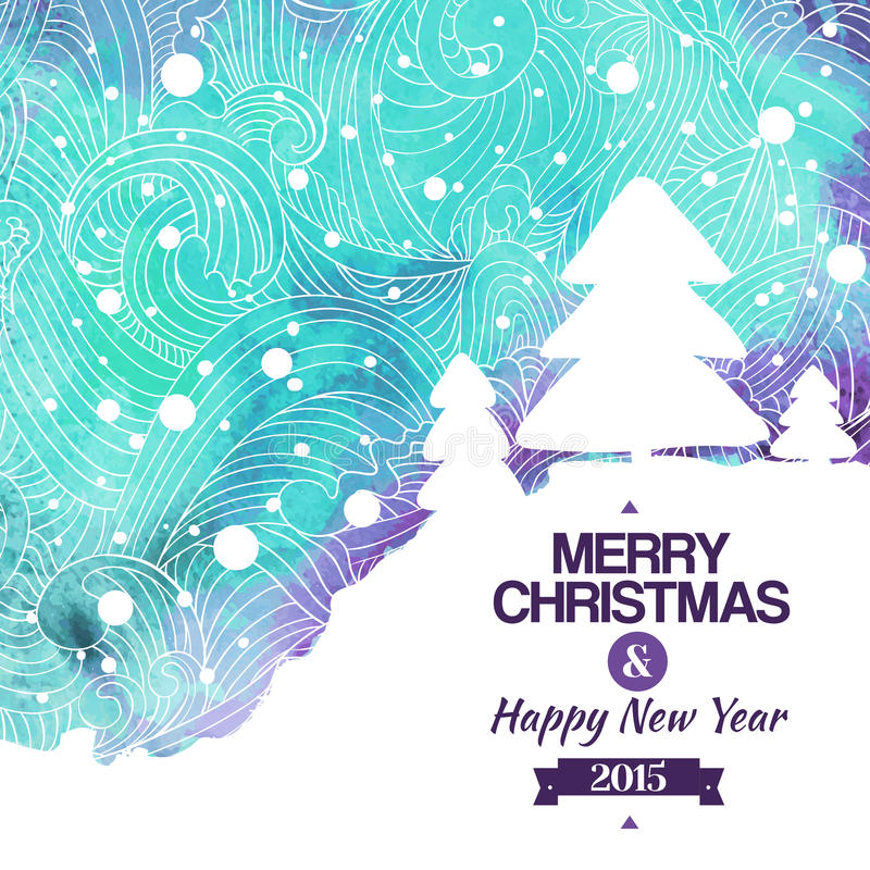 Merry christmas watercolor drawing background vector illustration