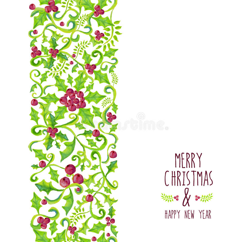 Merry Christmas watercolor holly berry pattern royalty free illustration