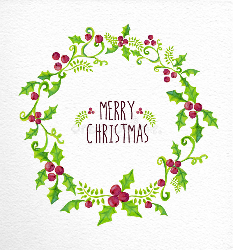 Free Merry Christmas Watercolor Holly Berry Wreath Card Stock Image - 47549691