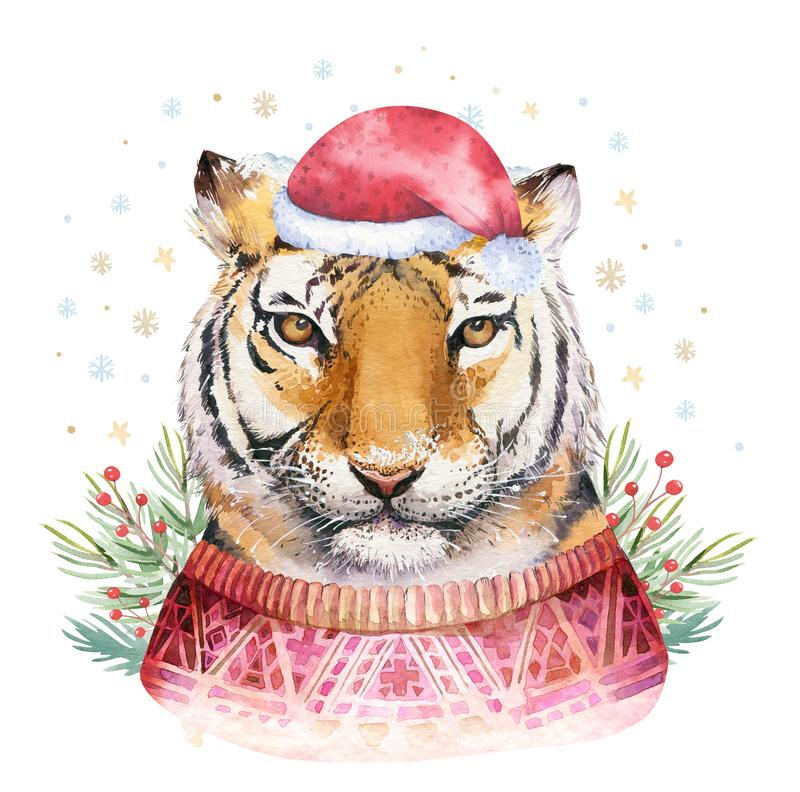 Merry Christmas watercolor lettering with isolated cute cartoon watercolor fun Siberian tiger illustration. Hand drawing. New year holiday greeting poster stock illustration