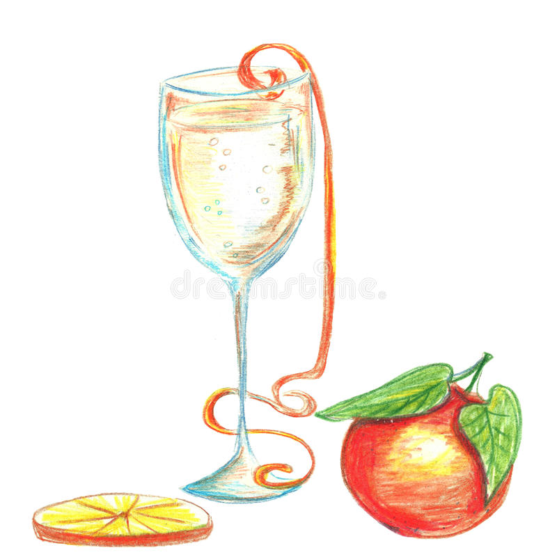 Merry Christmas watercolor pencils illustration. With champagne, tangerine, slice of orange. Isolated on white royalty free illustration