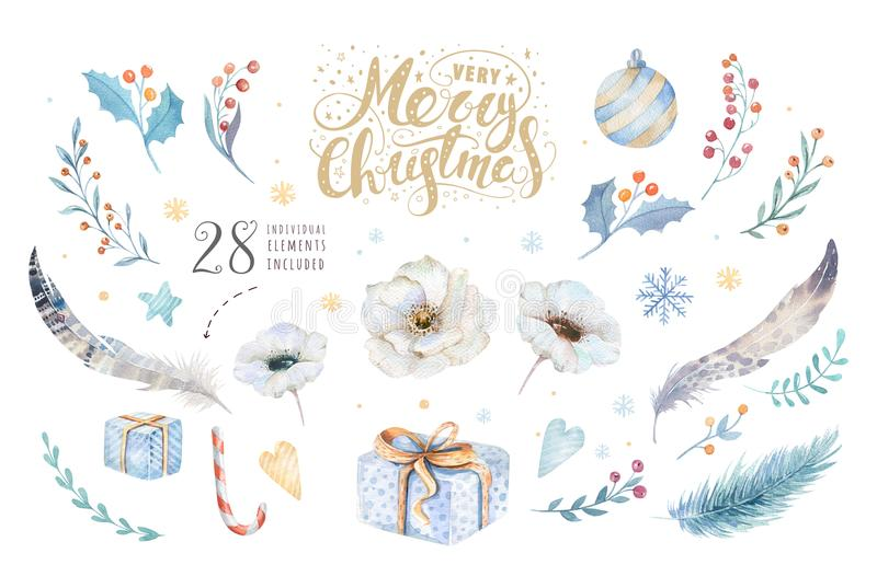 Merry Christmas watercolor set with floral elements. Happy New Year lettering poster collection. Winter flower and vector illustration
