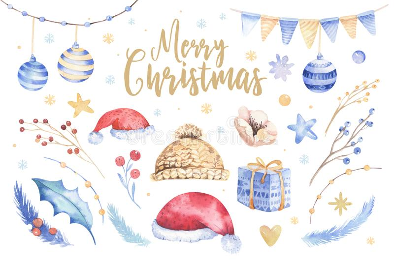 Merry Christmas watercolor set with floral elements. Happy New Year lettering poster collection. Winter flowers, gift royalty free illustration